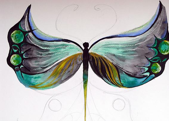 компоциция със стилизация на пеперуда