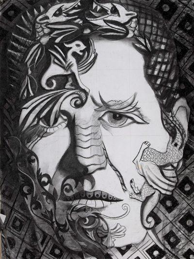 рисунка на глава с въглен