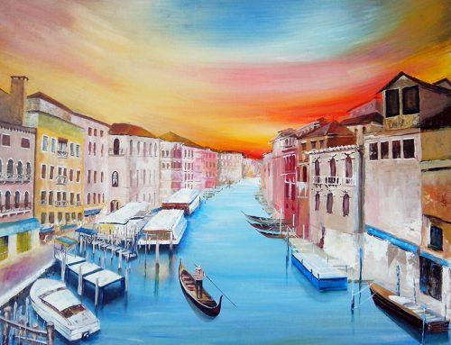 """Рисуване с акрилни бои """"Венеция"""""""