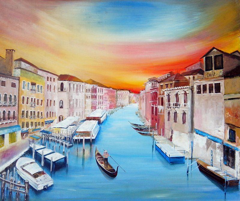 рисуване на пейзаж с акрилни бои
